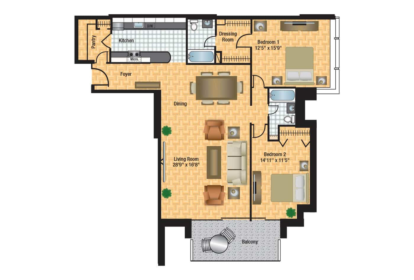 Columbia plaza floor plans thefloors co for Apartment 2d plans