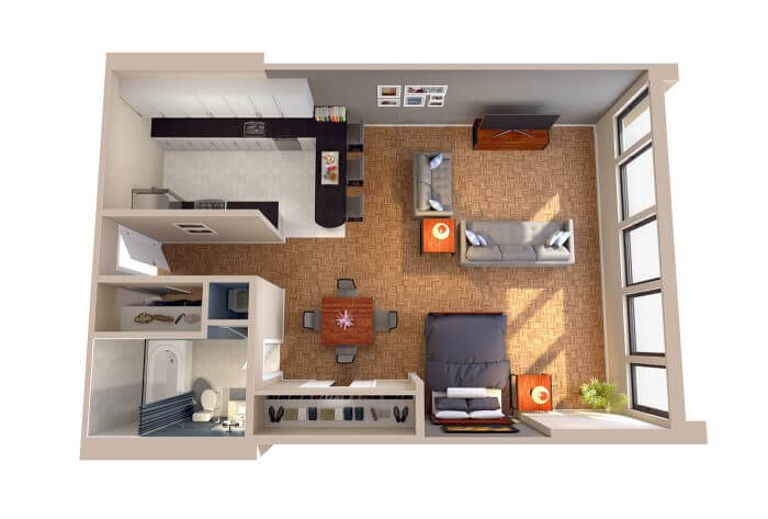 The Dupont Washington DC Studio Apartment 3D Floorplans