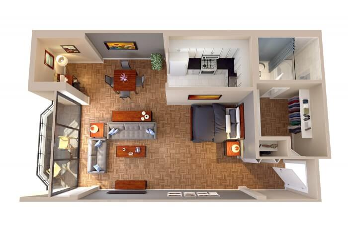 The Georgetown studio apartment 3D floor plans