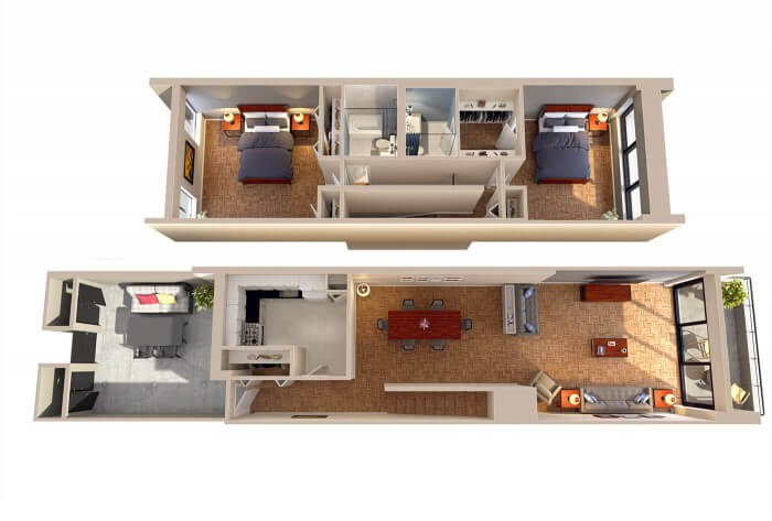 The Lincoln Two Bedroom Walkup/Walkdown floorplan