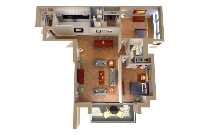 The Chesapeake Two Bedroom Apartment Floor Plan