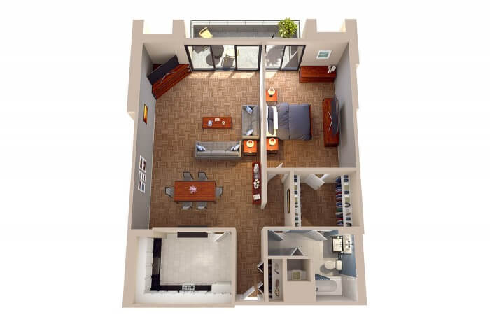 The Massachusetts - 1 Bedroom Floor Plans in Washington DC NW