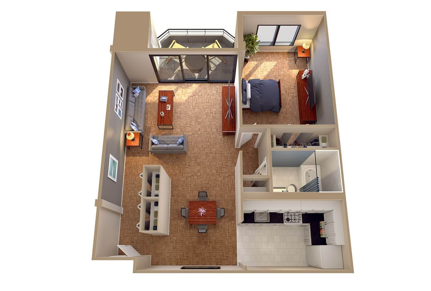 The Wisconsin   1 Bedroom Apartment 3D Floor Plans