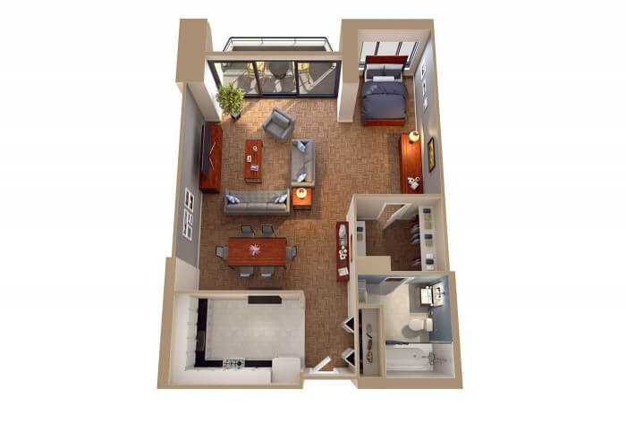 The Potomac - 0 bedroom apartment foggy bottom dc - 3D Floor Plans