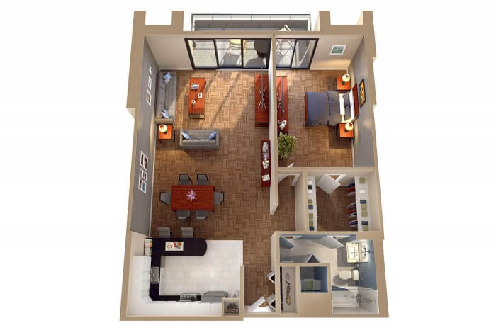 The Vermont - 1 Bedroom Apt Floor Plan