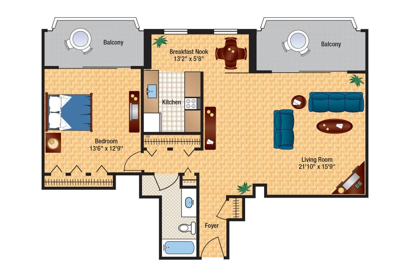 The envoy floor plans columbia plaza for Apartment 2d plans