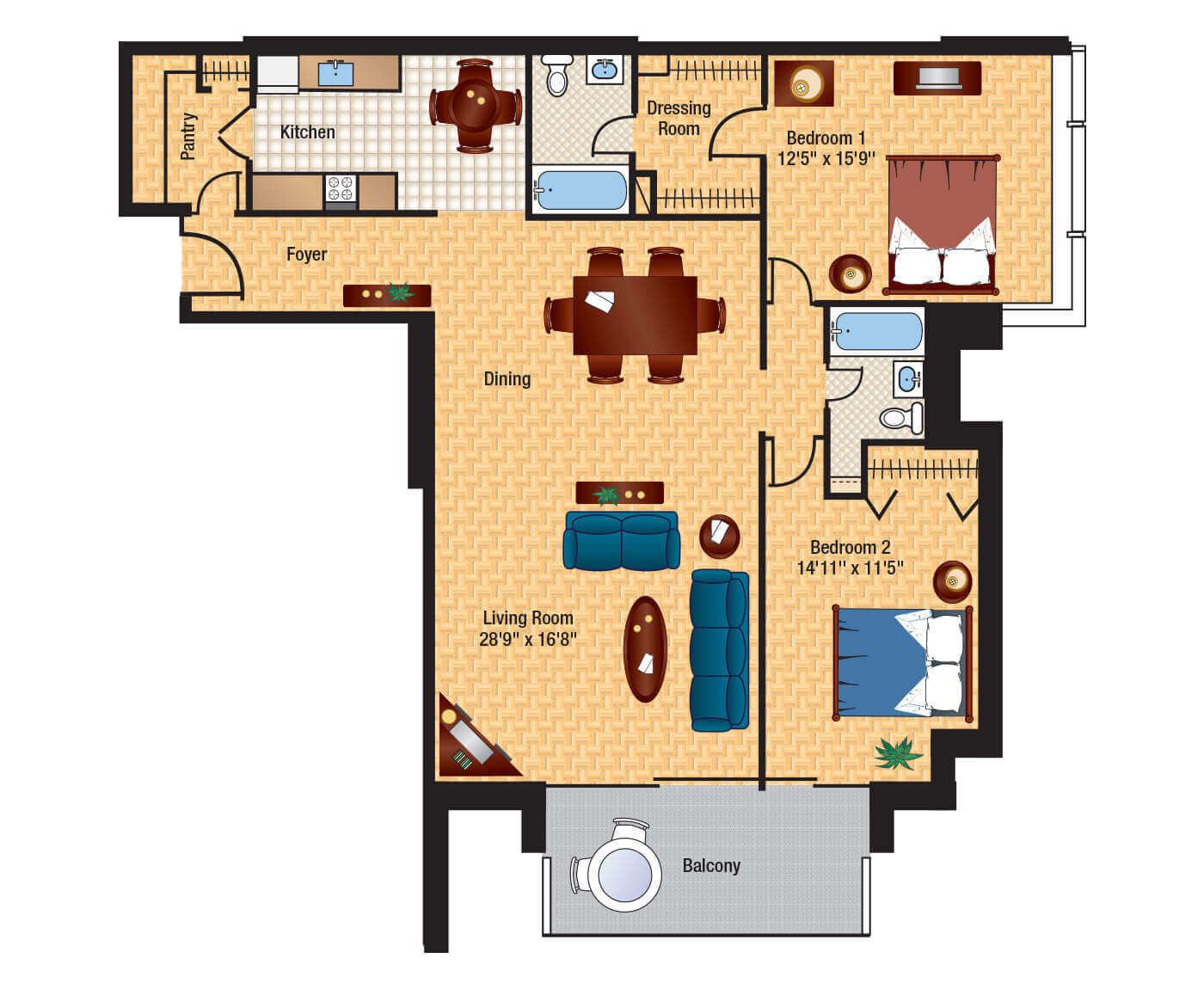 2 Bedroom Floorplan   Washington Floor Plans