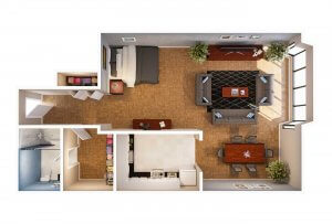 The Alexandria Efficiency Apartment Floor Plans