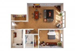 The Pennsylvania - 1 Bedroom 3D Floor Plans